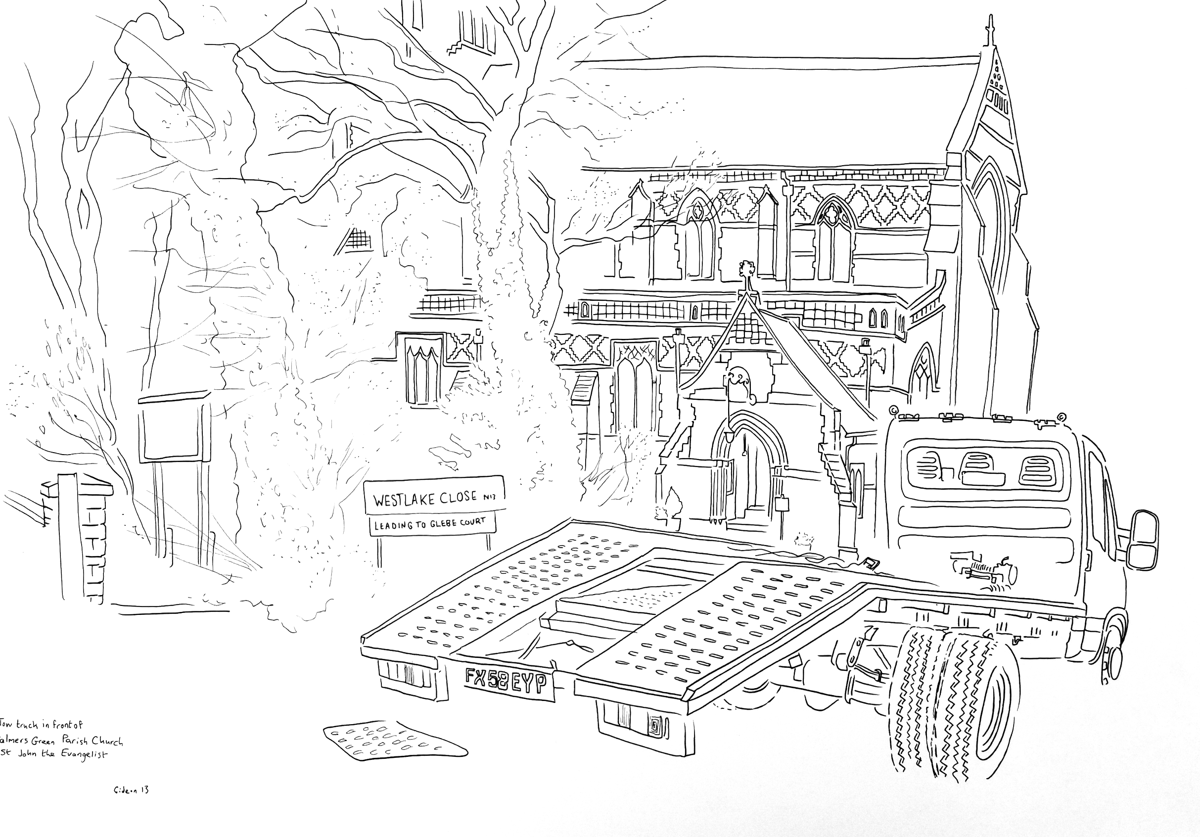 A2 drawing church with tow truck