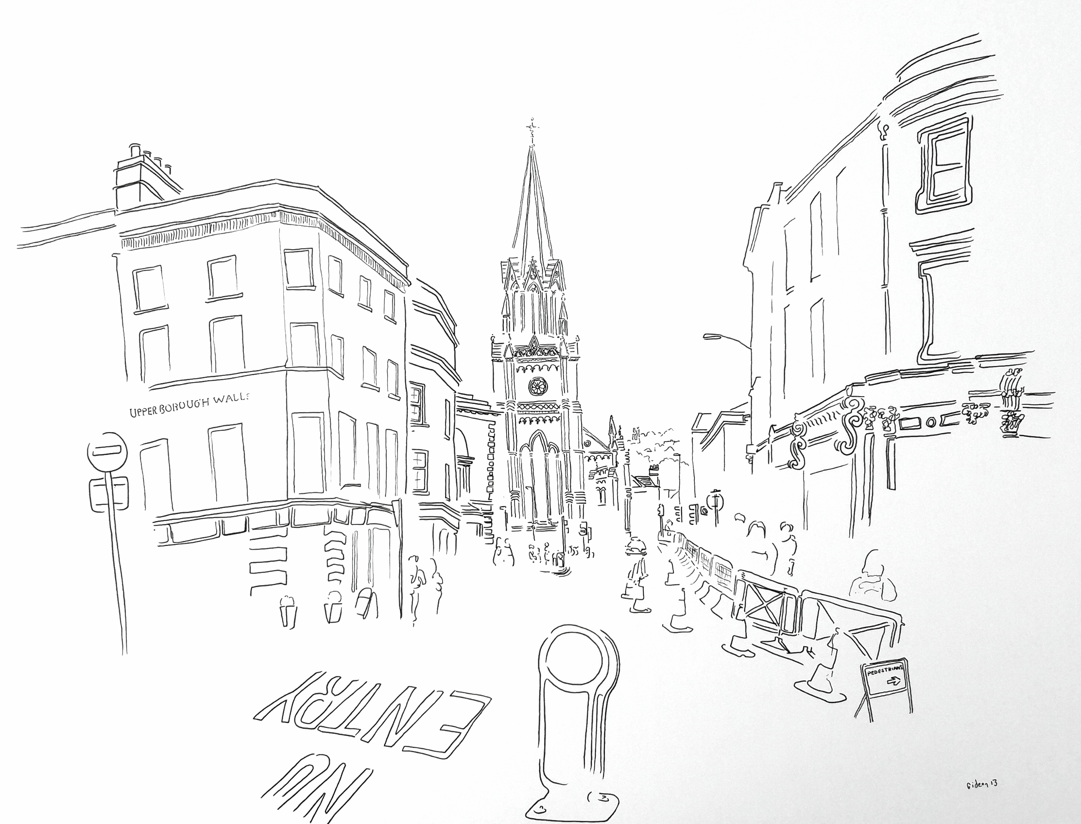A2 drawing street in bath with church and bollard